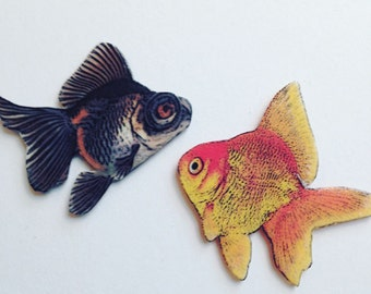 Goldfish Tack Pin Brooch Set of 2 Handcrafted in the USA Gifts for Her Gifts for Him gold18a