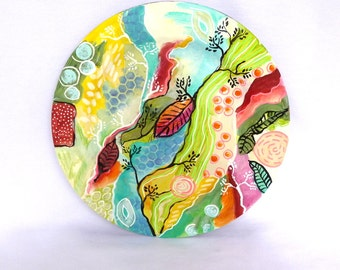 PAINTED WOODEN PLATE/ Upcycled wood plate