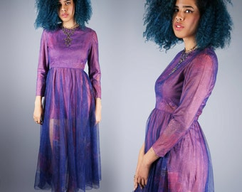 Sexy Sheer Maxi Dress Peek-a-boo Micro Mini Dress Boho Op Art Purple Dress Size Medium Large Bust 36 37 38