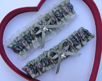 New  Mossy Oak Sage Ivory Camouflage Camo Wedding Garter Hunting Deer Hunter Chick Prom GetTheGoodStuff