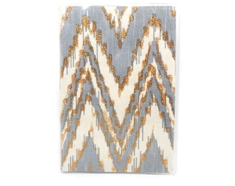 Passport Cover - Cream and Grey ikat chevron - modern geometric travel accessory - passport holder - case
