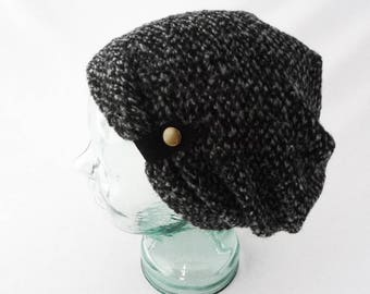 Slouchy Hat, Charcoal Gray, Black, Boho Hat, Beanie, Gift 4 Her, Slouch Hat, Cozy Hat, Toque, Winter Hat, Warm Hat, Cuddly Hat, Bad Hair Day