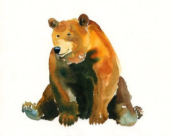 BEAR -7x5inch Print-Art Print-animal Watercolor Print-Giclee Print-Nursery decor