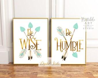 Woodland Nursery Printable Art, Baby Girl Printable Art, Woodland Wall Art, Boho Nursery Art, PRINTABLE ART, Mint and Gold Nursery Wall Art