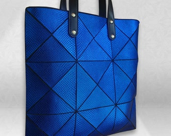 Cobalt blue Leather Bag, Womens leather Tote, Leather Handbag, Leather Bag, Blue Tote, Metallic Leather Bag, Snake emboss Ladies leather Bag