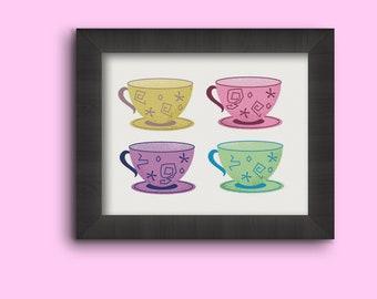 Teacups –Alice in Wonderland –Disney – Disney Movie –Colorful  – Tea –Illustration – Wall Art –Art Print 5x7 8x10