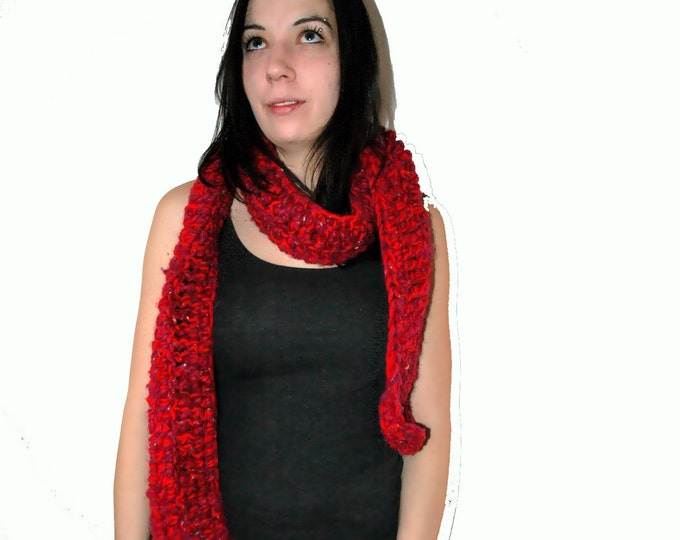 Big Red Comfy Scarf Handmade Crochet Christmas Gift Ready to ship