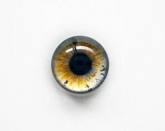 15mm handmade glass eye cabochon - brown / grey eye - Hemispherical / High Dome
