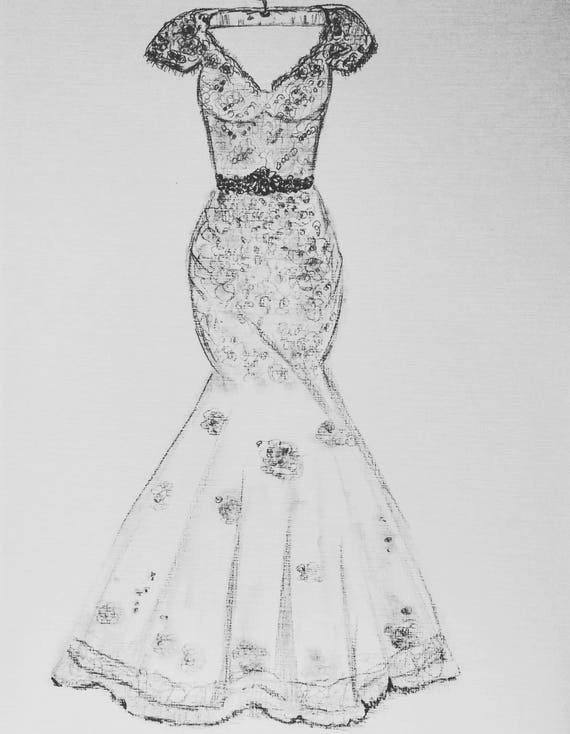 Wedding Dress Drawing 1st Anniversary Sketch Paper Gift Custom Orders Just Send Me Photos Of The