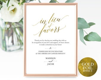 Faux Gold In Lieu of Favors Sign Template, Printable In Lieu of Favors Sign, Editable Wedding Donation Sign, PDF Instant Download, MM07-3