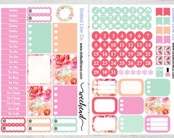 Pink Watercolor Floral Planner Sticker Weekly Planning Kit