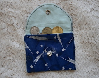 Fabric Coin Purse Snap Closure Blue Background Shooting Stars Business Card Holder