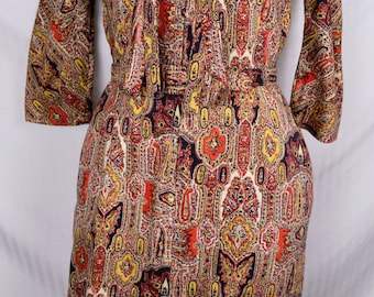 Vintage 60s Paisley Shawl Print Wiggle Dress Hippie Couture Boho India Novelty