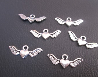 10 charms silver winged heart metal 29 mm x 11 mm