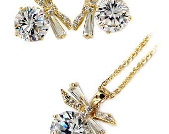 Elegant dragonfly crystal necklace earrings gold set