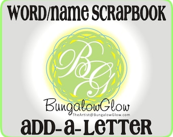 Name - Word Scrapbook ADD-ON pages, custom scrapbook chipboard album pages