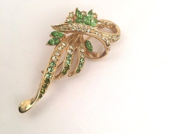 Peridot August Birthstone Brooch Green and Clear Marquise and Roud Rhinestone Swirl Pin 50s 60s Costume Jewelry