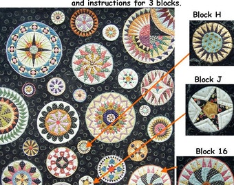 Lots of Dots BOM - Month 4. Patterns and instructions for three blocks as pictured.