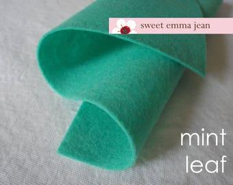 Wool Felt 1 yard cut - Mint Leaf - blue-green mint wool blend felt