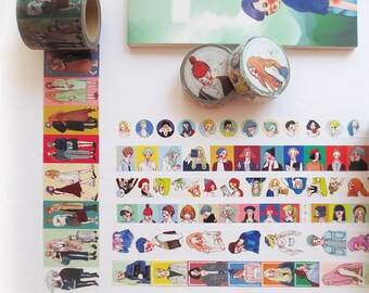 Washi Tape Sample,  La Dolce Vita Washi Sampler, Original Illustration Washi Tape, Scrapbook Supplies, Planner Stickers