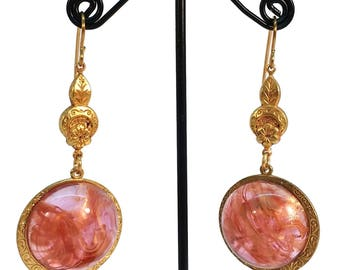 Pink Lucite Cameo, Pink Lucite Earrings, Lucite Globes, Pink Earrings, OOAK, Pink Swirls, Brass Earrings, Dangle Earrings, One of a kind