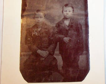 Antique TINTYPE Photo-Portrait of 2 Young Boys in Sunday Suits-FREE SHIPPPING!