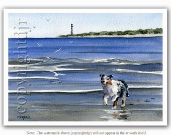 AUSTRALIAN SHEPHERD Dog Art Print Signed by Artist DJ Rogers