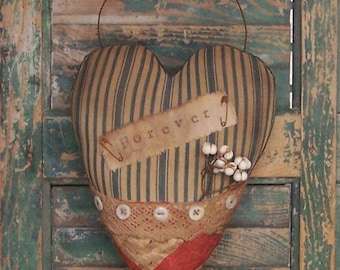 Rustic Heart Door Hanger, FOREVER Heart, Front Door Decor, Valentine Heart Hanger, Vintage Ticking Antique Quilt - READY to SHIP!