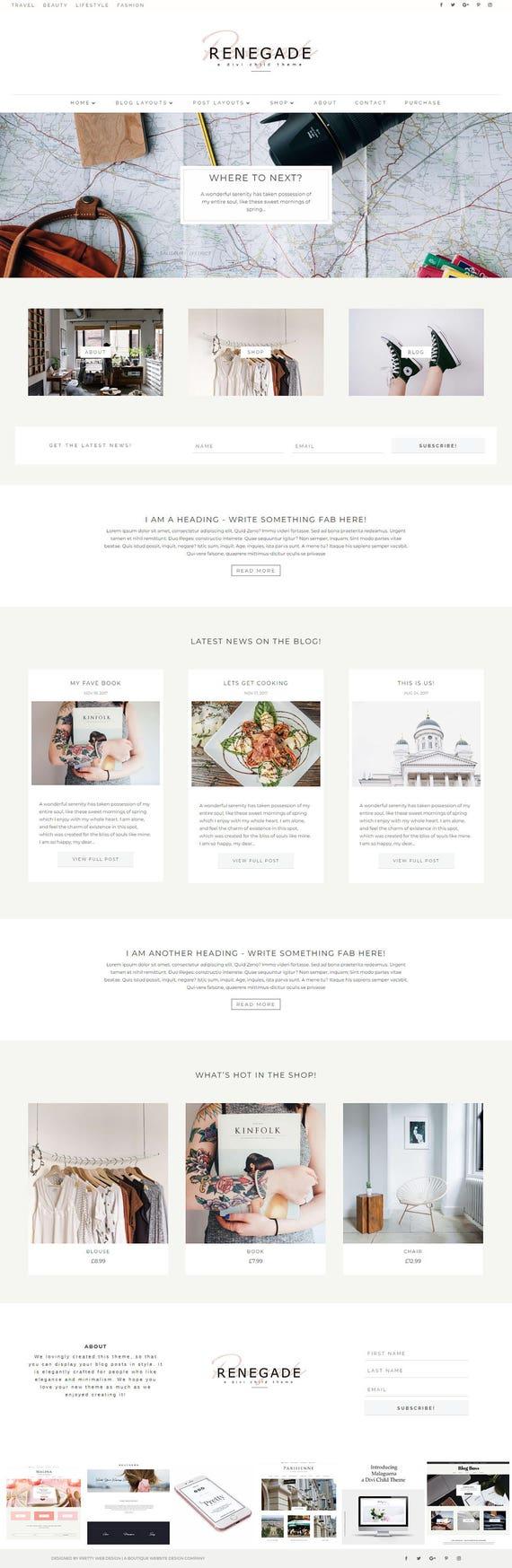 Abtrünnigen WordPress Divi Blog & Shop Thema. Moderne Divi