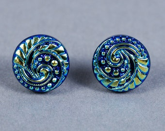 Dichroic Glass Cabochon 14mm - Blue Glass Cabochon - Wave Cabochon
