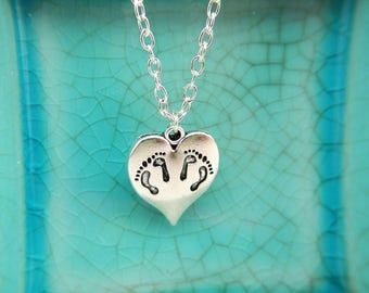 Twin Baby Feet Impression Heart Charm Pendant Necklace