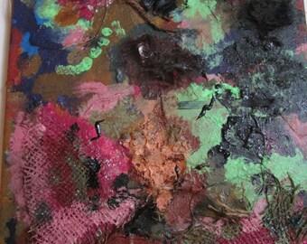Difforme cocon de chenille ondes cérébrales - un d'un genre Original peinture, technique mixte, texture hybride - différentes couleurs et Textures