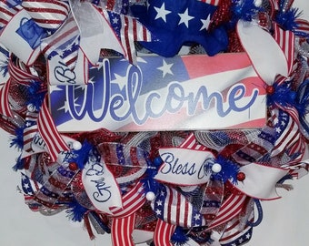 Uncle Sam Patriotic Wreath,Uncle Sam Decor,Uncle Sam Wreath,Patriotic Wreath,Patriotic Decor, Welcome Sign for Front Door, Welcome Wreath