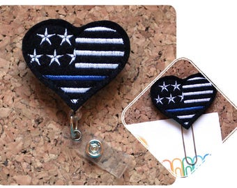 Badge Reels, POLICE Thin Blue Line Heart Badge Reel, Felt Badge Reel, Retractable ID Holder, Planner Clip, Magnet, Pin,Felt BLUE 1484