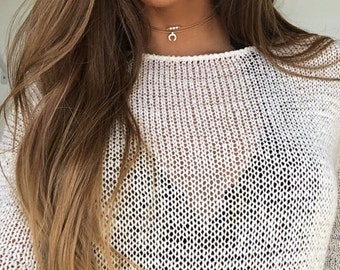 Dainty Pearl and Silver Crescent Horn Choker Necklace, Layered Choker, Gift for her, Dainty Choker