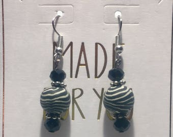 Zebra/Black Earrings