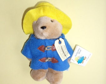 Paddington Bear 7 inches by Eden Toys with Yellow Hat, Blue Coat, Excellent Condition