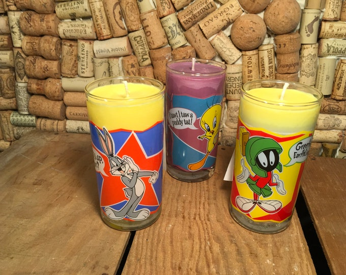 Vintage Looney Tunes Cartoon Glass with a soy candle