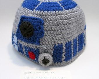 Robot beanie hat, crocheted