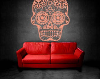 Wall Art Vinyl Sticker Sugar Skull Floral Day Of Death Holiday Human Skeleton Bones Grim Dead ZX231