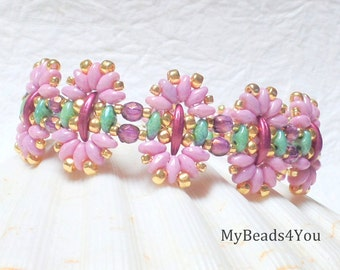 Beaded Bracelet,Beadwork Bracelet,Seed Bead Jewelry,Superduo Beads, Beadwoven Jewelry, Pink Beaded Bracelet, Valentines Day Gift,MyBeads4You