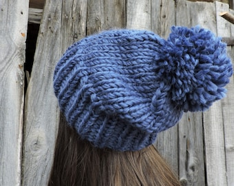 Blue wool slouchy beanie hat Mens beanie with pom pom Hand knit hat Womens hats Slouch hat Bobble hat Chunky ski hat Blue hat