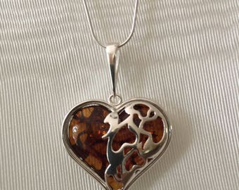 Cognac Baltic Amber and Silver Heart Necklace-925 Sterling Silver
