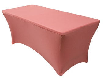 YCC Linen   6 FT Rectangular Spandex Table Cover Coral | Wholesale  Tablecloth