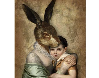 Mother Rabbit Portrait Print Digital Art Surreal Home Decor Bunny Hare Brown Gold