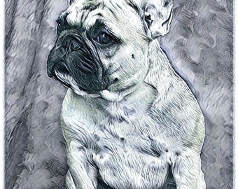 French Bull Dog drawing note cards