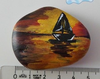 Black Sailboat Hand Painted Stone