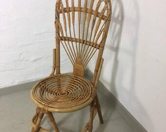 Mid Century rattan throne chair