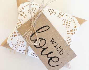 Rustic Favour Boxes Pk10 - Kraft Brown. With Love Tags. Doilies. Twine.
