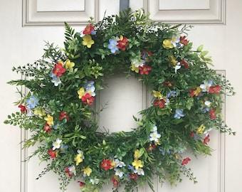 Front Door Wreath~Summer Wreath~All Occasion Wreath~Wreath for Front Door~Farmhouse Wreath~Summer Front Door Wreath